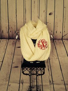 Hey, I found this really awesome Etsy listing at https://www.etsy.com/listing/204215053/monogrammed-knit-scarf-infinity-scarf