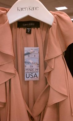Karen Kane garment with Made in the USA tag, something you don't see very often on apparel