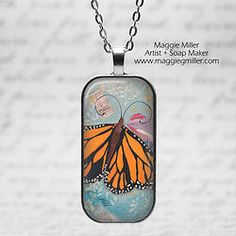 Rounded Domino Pendant Butterfly Wing from original painting