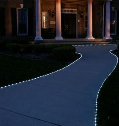 I'm going to do this on my front walkway with cool white solar rope lights. I found them at Home Depot and they are cheap!