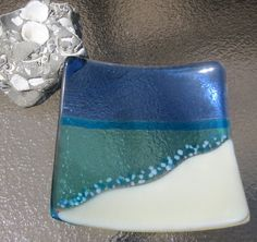 Fused Glass Plate, Ocean Beach, Aquamarine Blue, Turquoise, Sky Blue, White, and French Vanilla via Etsy