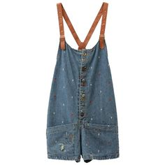 Oversized Denim Pinafore Shorts with Leather Straps and Anchor... ($40) ❤ liked on Polyvore featuring shorts, overalls, dresses, bottoms, bib overalls, overall shorts, bib overall, overalls shorts and denim overall