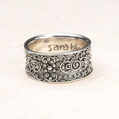 "$80.00 ""Scrollwork holds its own on this versatile #sterling #silver #ring."" Http://donnaaquilino.jewelry.willowhouse.com"