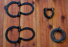 Set of matching Horseshoe hardware hinges by BlacksmithCreations