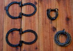 Set of matching Horseshoe hardware hinges by BlacksmithCreations