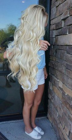 """Terrific Photos tutorial videos diy lovely hairstyle hairdo braid gorgeous stunning per. Popular """"Warm"""" strategies for hair extension The glue material is frequently applied artificial Keratin. One Piece Hair Extensions, Human Hair Extensions, Beautiful Long Hair, Gorgeous Hair, Super Long Hair, Pretty Hairstyles, Long Blonde Hairstyles, Long Blonde Curly Hair, Hair Pieces"""