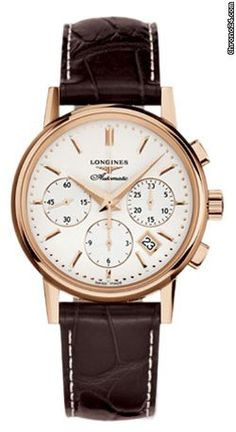 Longines Heritage Column Wheel Chronograph L2.733.8.72.2 $6,975 #Longines #watch #watches Solid Polished 18kt Rose Gold Case
