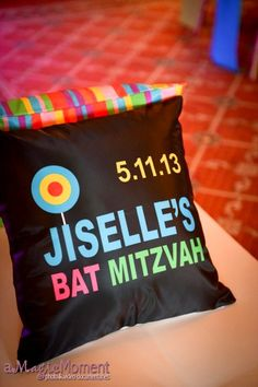 Custom Pillows with Bat Mitzvah Logo {Planner: Party Perfect, Photo: A Magic Moment} - mazelmoments.com