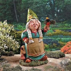 "Singing Girl Garden Gnome Decor Front Back Yard Art Accent Black Bird Patio 11""  #Traditional"