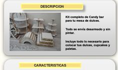 Kit Candy Bar E Para Mesa De Dulces Cupcakes Mdf Para Fiesta - $ 1,100.00