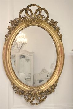 Antique French Ribbon Mirror from Full Bloom Cottage