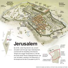 ‎By 34 BC, under King Herod's rule, ancient Jerusalem went through major redevelopment, crowned with the rebuilding of the Second Temple and a bigger Temple Mount. In AD 66, the Great Jewish Revolt challenged Roman rule over Jerusalem, resulting in the destruction of the temple and the fall of Jerusalem by AD 70.