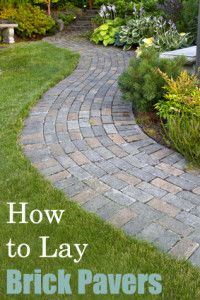 Brick pavers make for beautiful, classic-looking patios. With a little instruction and some friends willing to help with the manual labor, you can lay your own brick paver patio. Here is a look at what the process basically entails: (for the full tutorial Paver Path, Brick Paver Patio, Brick Pathway, Concrete Paving, Flagstone, Outdoor Projects, Garden Projects, Lawn And Garden, Garden Paths