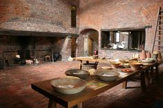Medieval kitchen.  Gainsborough Old Hall has one of the best medieval kitchens in the country, seen here are one of the two vast fireplaces and the servery.   Medieval kitchen (C) Richard Croft :: Geograph Britain and Ireland
