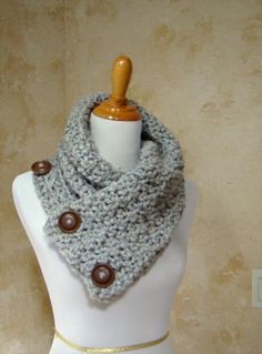 crochet shawl patterns with buttons | Button Crochet Scarf Pattern