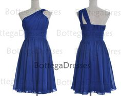 one shoulder strap royal blue dress
