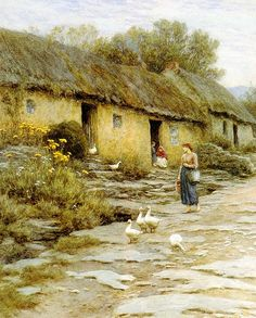 Helen Allingham 'Irish_Cottage' 19thC watercolour Helen Allingham [English watercolour painter and illustrator of the Victorian era.1848 – 1926]. She is most famous for her warm and sympathetic scenes of cottages gardens children and rural English country life.