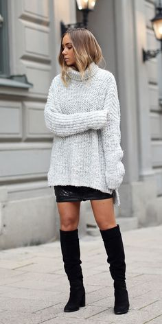 dress-sweater + knee-high boots #omgoutfitideas #outfits #lookoftheday