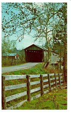 Harshaville, OH - Covered Bridge On Cherry Fork Creek - Adams County OH - Postcard - 1960's.