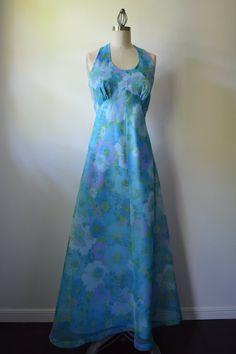 Vintage Dress 1970's Halter Dress with Cape Jacket by EadoVintage