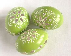 Set of 4 light Green Hand Decorated Colours Painted by VeryAndVery