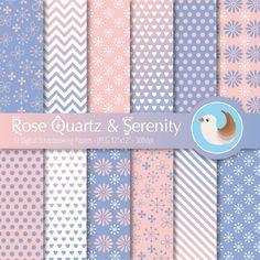 Rose Quartz and Serenity Digital Paper  Pantone by CinnamonDove