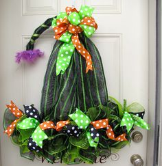 Witches Hat Halloween Black Green Orange with by NicoleDCreations, $79.99