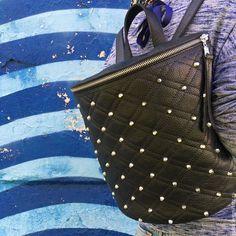 """Купить Рюкзак женский кожаный, черный с шипами """"№2"""" в интернет магазине на Ярмарке Мастеров"""