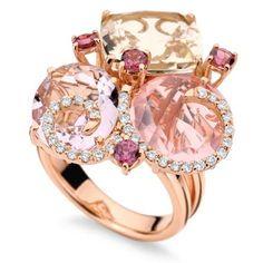Mumbai Lavanda ~ Pink Gold w/ White Diamonds, Rose de France Amethyst, Pink Quartz, Champagne Topaz & Rhodolite