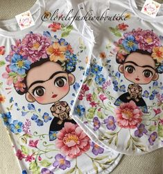 Frida Kahlo Bloom T-shirt design for mom and daughter. Frida Kahlo Cartoon, 40th Birthday, Paper Dolls, Cool Style, Shirt Designs, Bloom, Daughter, Hand Painted, T Shirt