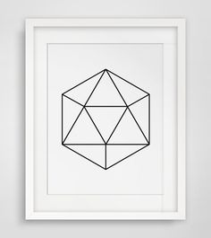 Geometric black and white gem print    ===      Print out this modern wall artwork from your home computer or local print shop to style and