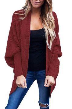 ea7f5fab8d Burgundy Black Ribbed Cuffs Dolman Sleeved Open Cardigan Sweater Coats