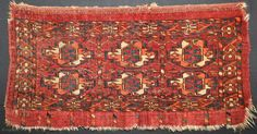 ca.1870 Tekke 6 gul Mafrash, wonderful natural colour small size 60x30 cm  2x1 ft