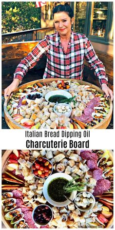 Italian Bread Dipping Oil Charcuterie Board with bread cubes and charcuterie treats. via Italian Bread Dipping Oil Charcuterie Board with bread cubes and charcuterie treats. Plateau Charcuterie, Charcuterie And Cheese Board, Charcuterie Platter, Cheese Boards, Charcuterie Recipes, Snacks Für Party, Appetizers For Party, Appetizer Recipes, Italian Appetizers Easy