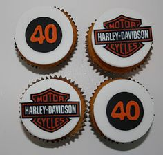 Baked By Design: Harley Davidson Cake and Cupcakes Harley Davison, Fondant, 50th Birthday Cupcakes, 60th Birthday, Birthday Ideas, Happy Birthday Harley Davidson, Logo Harley Davidson, Beautiful Cakes, Amazing Cakes