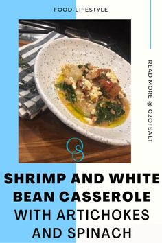 I love an easy dinner that's full of flavor. When I think of delicious, fresh, and clean flavors, I think Mediterranean. With the briny taste of artichokes, salty feta, and sweet shrimp, this dish is sure to be a crowd pleaser. It will absolutely impress your family and friends! Spinach Casserole, Bean Casserole, Casserole Dishes, Easy One Pot Meals, Easy Weeknight Dinners, Quick Meals, Delicious Recipes, Healthy Dinner Recipes, Yummy Food