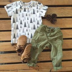 Baby boy fall outfit, pine tree print tshirt for boys - Mount Zi baby and kids clothing