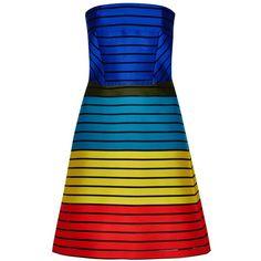 Womens Statement Dresses Mary Katrantzou Freesia Striped Silk Blend... (18.745 NOK) ❤ liked on Polyvore featuring dresses, colorful dresses, color block dress, colorblocked dress, blue dress and stripe dress