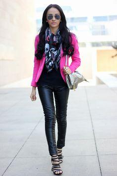 """Pink Blazer: H Faux Leather pants: H Scarf:H Shoes:Shoedazzle """"Rajani"""" Bag:Panacea"""