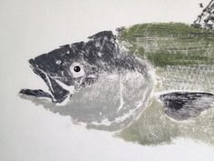 Original Striper Gyotaku Fish Print by OceanLifeFishPrints Striper Fish, Moleskine, Japanese Nature, Fish Print, Fish Design, Japan Art, Animal Crafts, Types Of Art, Illustrators