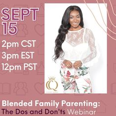 """RP @custodyqueens ONLY ☝ FOUR DAYS until the """"Blended Family Parenting: The Dos and Don'ts"""" Webinar! Forming a new, #blendedfamily comes with great challenges and great rewards. - During the #webinar, our team of experts will discuss: •How to handle high-conflict personalities •Tips and advice for women considering being with a partner who has children •Co-parenting apps that offer tools to plan •The importance of clarifying roles •Helping kids build resilience ... and so much more! - Don't miss Building For Kids, Co Parenting, Challenges, Apps, Advice, Handle, Tools, Children, Face"""