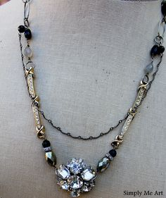Vintage Rhinestone Pyrite Pearl and Gemstone One of by simplymeart, $86.00.  Looks like parts of an old watchband on each side there,