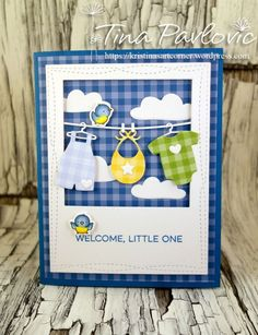 card clothesline baby clothes, overall T-shirt, onesie, MFT Bundle of Baby Clothes Die-namics Baby Boy Cards Handmade, New Baby Cards, Greeting Cards Handmade, Old Baby Clothes, Welcome Baby Boys, Welcome Card, Baby Shower, Marianne Design, Kids Cards