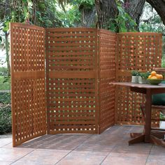4 Panel Yard Privacy Screens Patio Screen Outdoor Wood