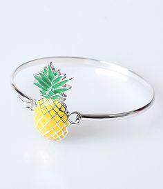 Silver & Yellow Pineapple Tiki Bracelet Bangle