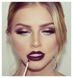 Golden eyes - bordeaux lips.