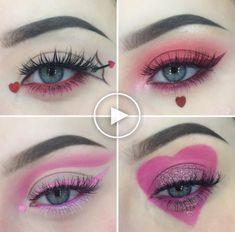 Valentinstag Make-up Day Eye Makeup, 70s Makeup, Cute Makeup, Pretty Makeup, Makeup Art, Makeup Ideas, Makeup Tips, Beauty Makeup, Makeup Tutorials