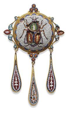 Micro Mosaic broach. 1880s.