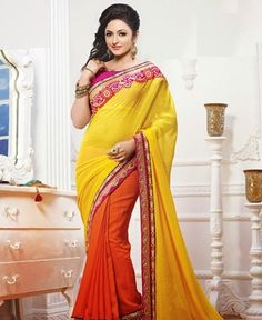 Picture of Grand Yellow And Orange Georgette Sarees
