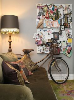 great idea; black linnen on canvas and pin it full of things you love